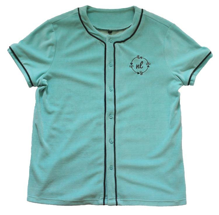 Velour Baseball Jersey in Aqua