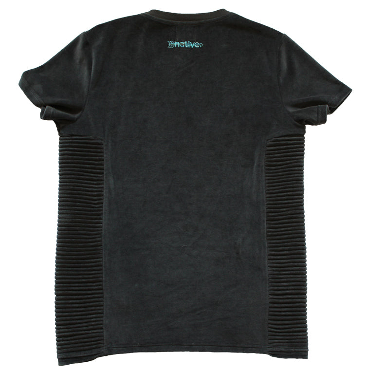 Velour Ribbed Tee in Charcoal
