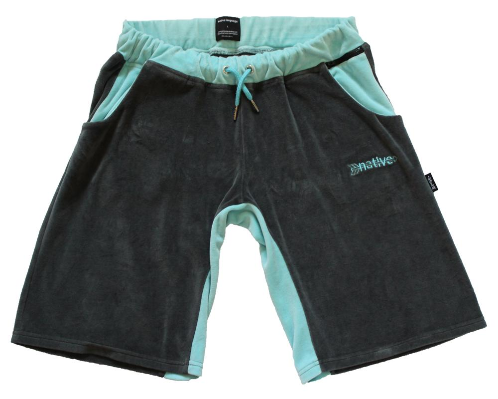 Velour Scoop Shorts in Charcoal/Aqua