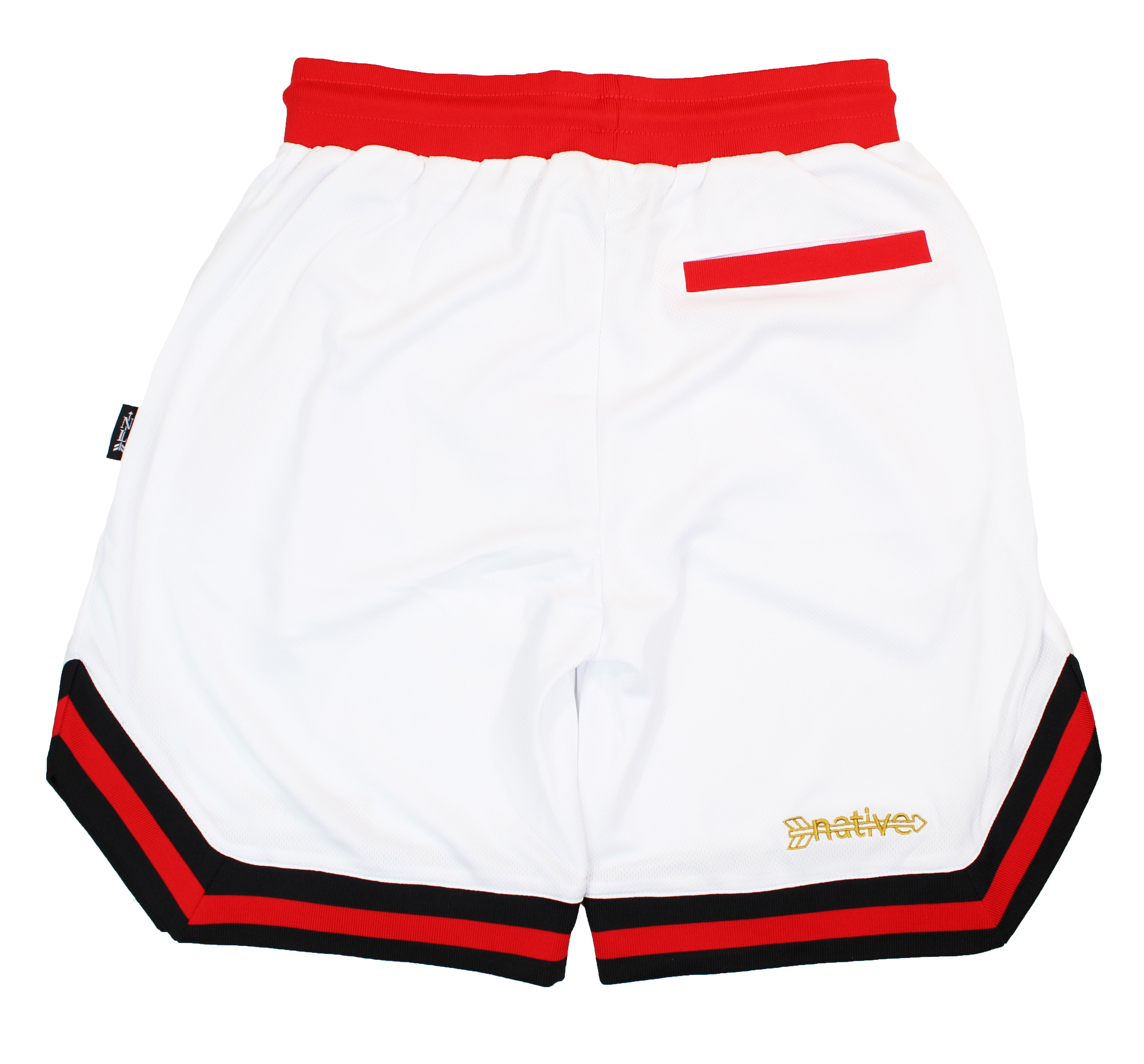 basketball shorts in white/red/gold