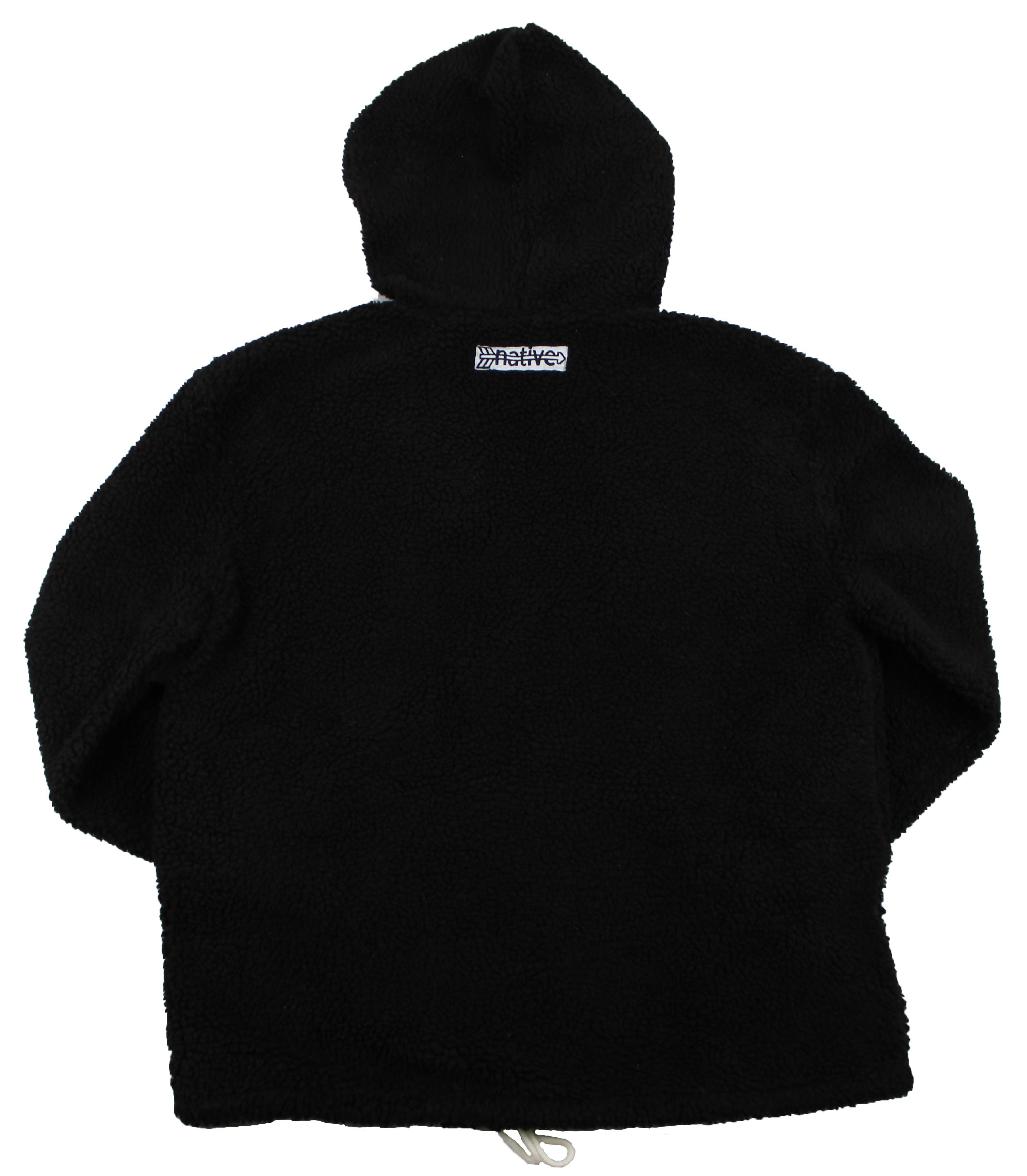 Sherpa Quarter Zip Hoodie in Black