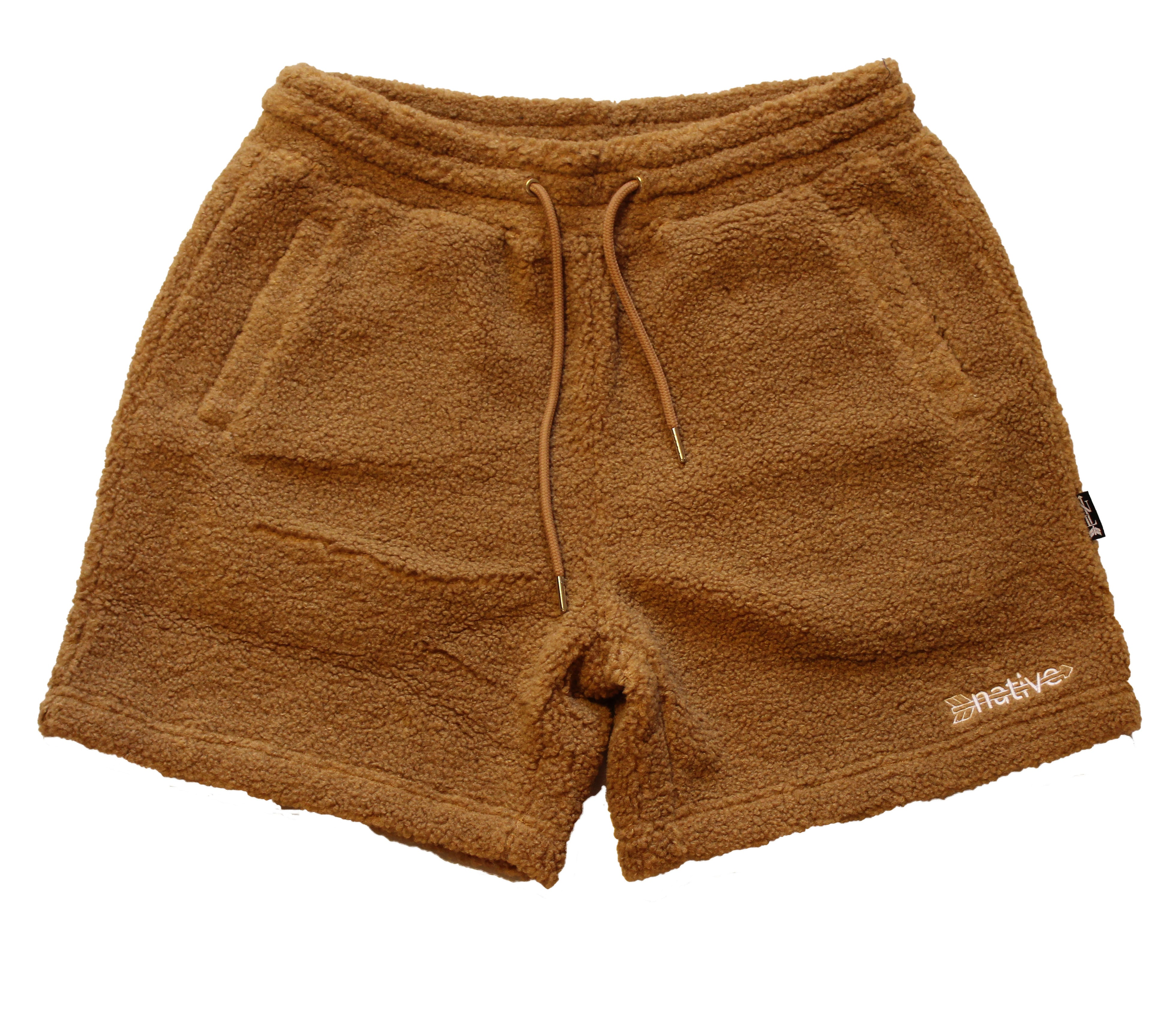 sherpa shorts in russet