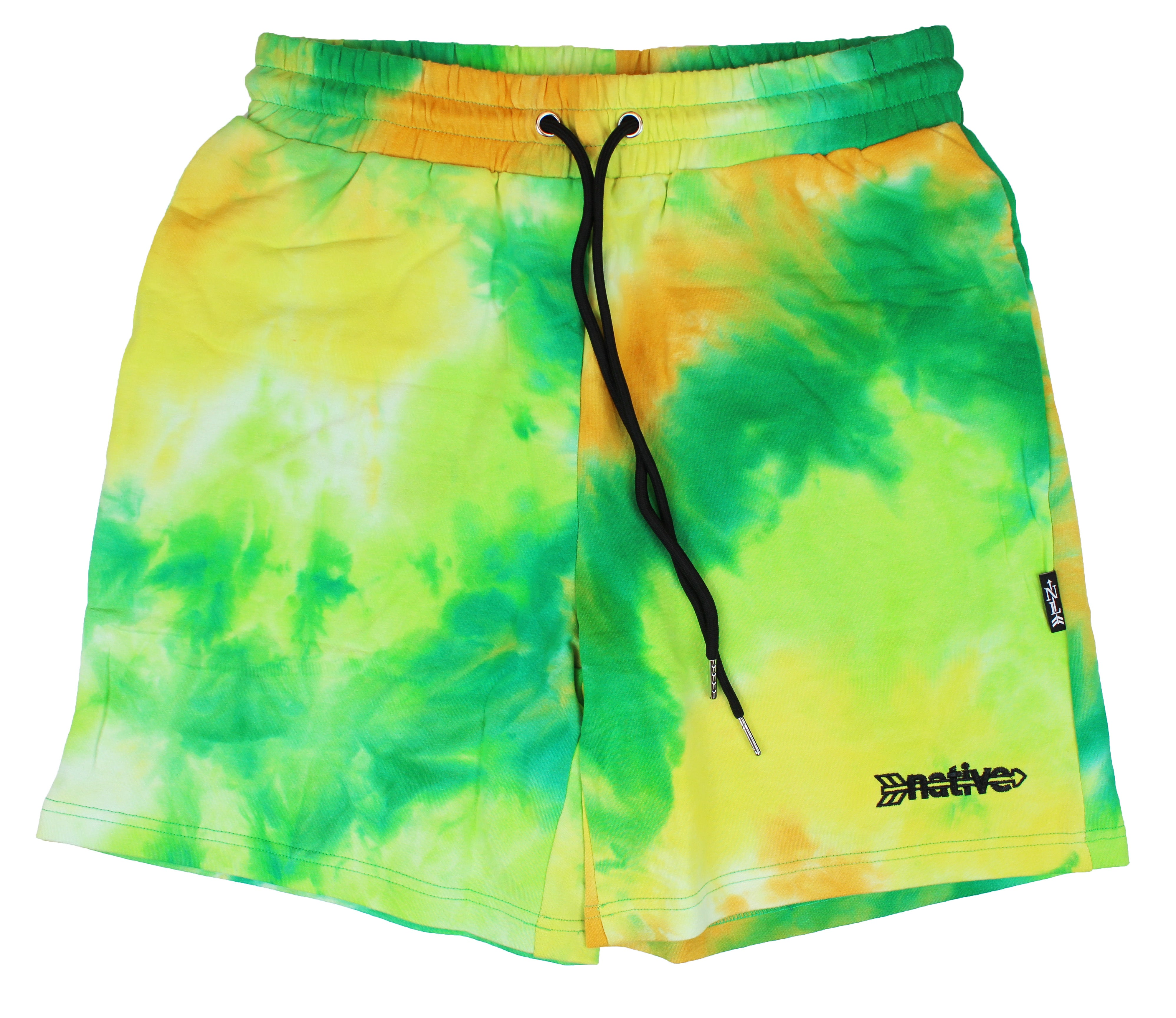 tie dye french terry sweat shorts in tropic