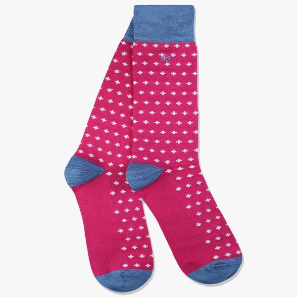 light pink socks with cross pattern