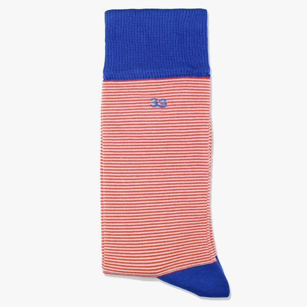 orange and blue striped socks