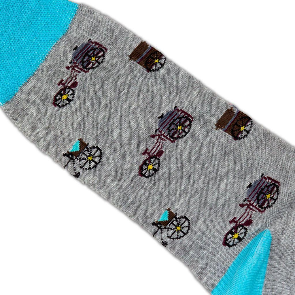 Grey and blue tamales patterned socks