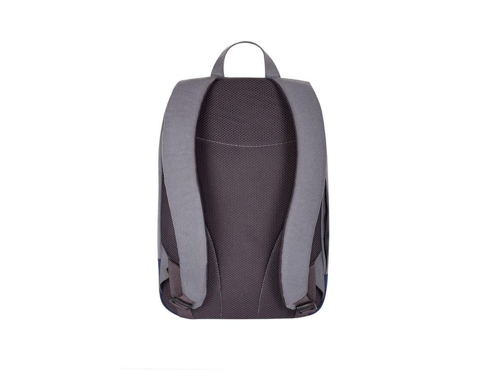 grey back view of backpack on a white background