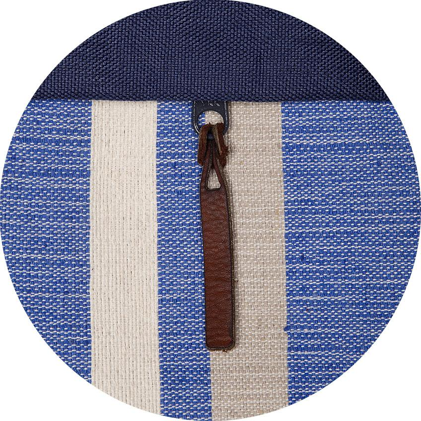 closeup of woven blue and white pattern and leather strap