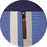 Load image into Gallery viewer, closeup of woven blue and white pattern and leather strap
