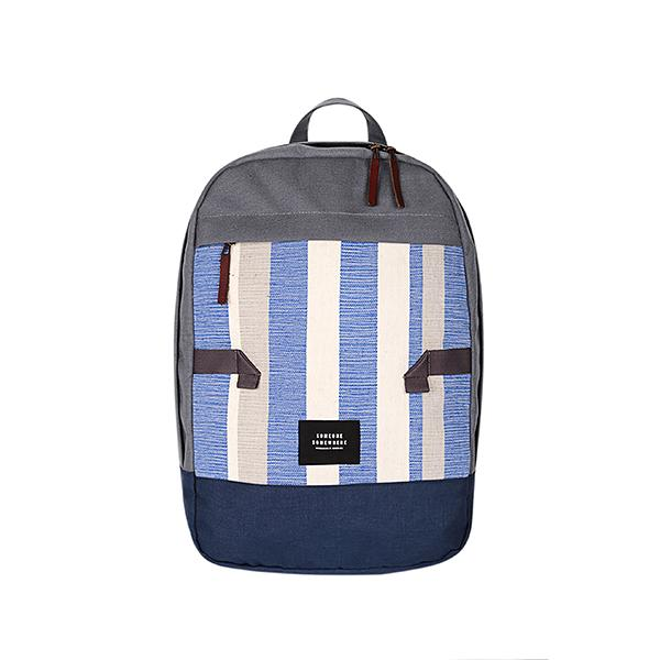 Blue and white handmade backpack