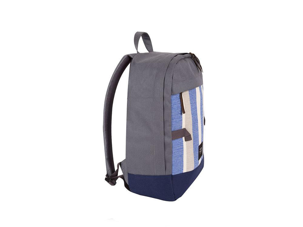 blue, grey and white backpack with handles