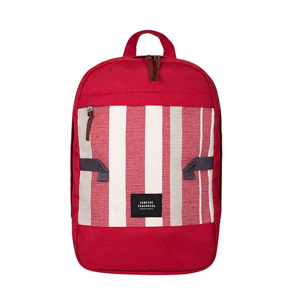 Red and white someone somewhere rucksack