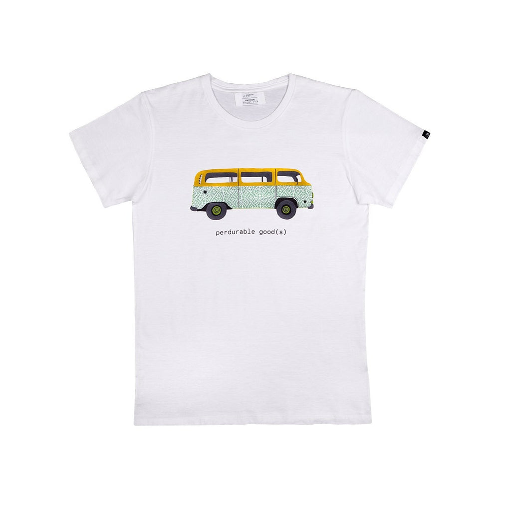 White men's camper van t-shirt  on white background