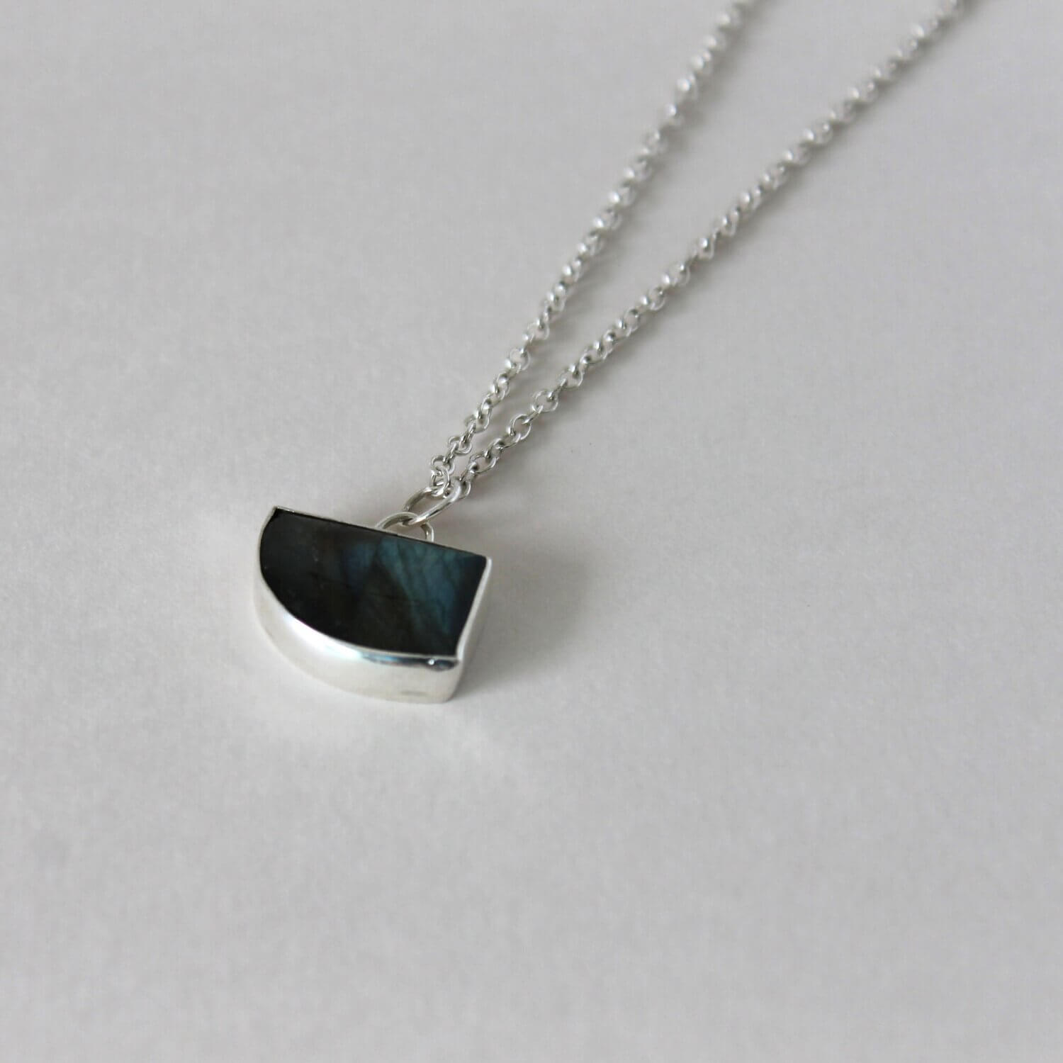 Silver and black stone necklace with delicate chain