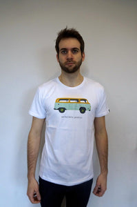 model wearing camper van t-shirt