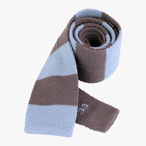 light blue and grey striped woven tie