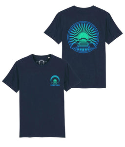Green and navy t-shirt with front and back print