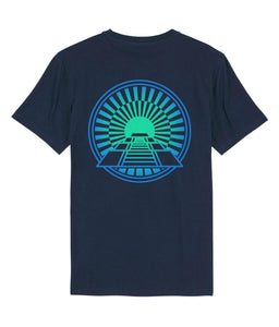 Navy cotton t-shirt with pyramind aztec back print