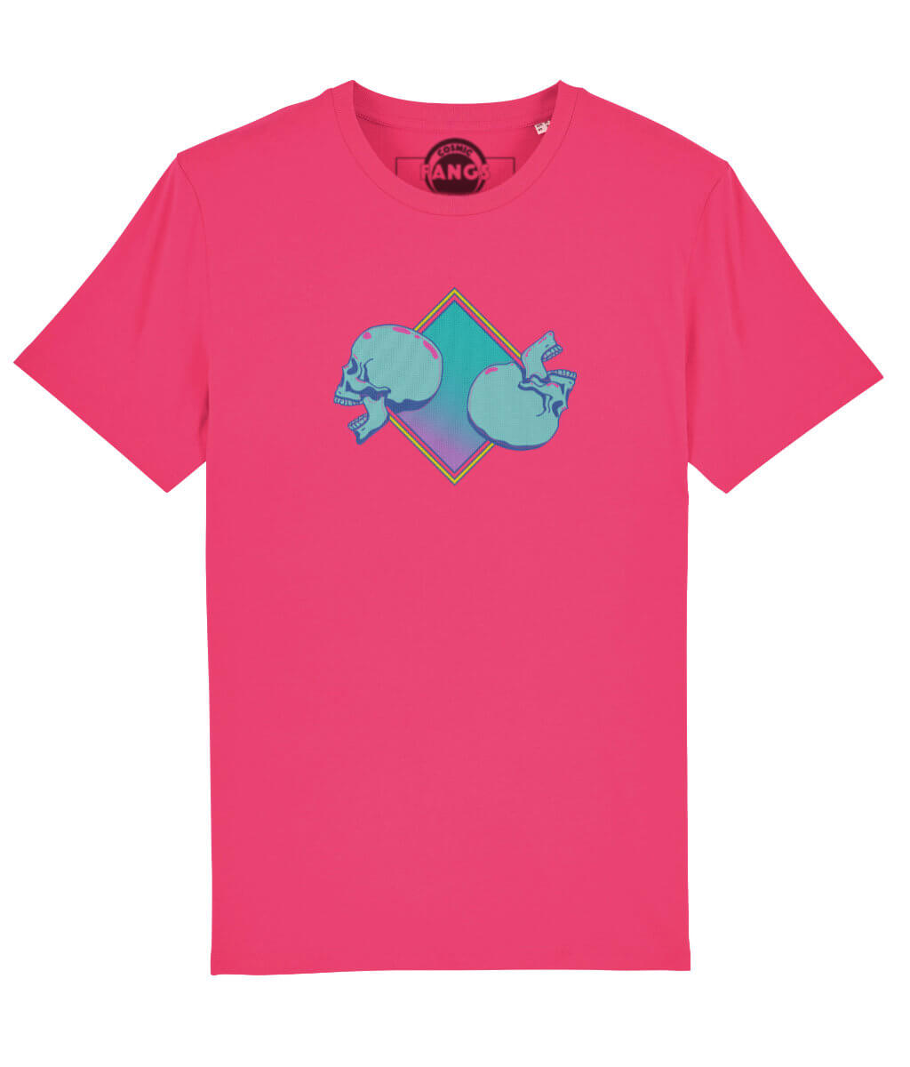 pink cotton mens t-shirt with skulls logo in blue and turoquise