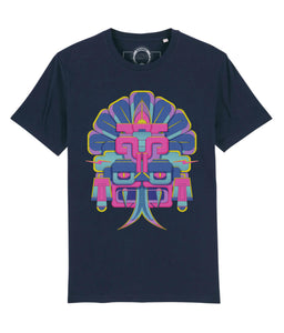 Dark navy cotton t-shirt with fancy multicolour head print