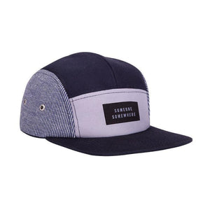 Blue fivepanel cap with someone somewhere logo
