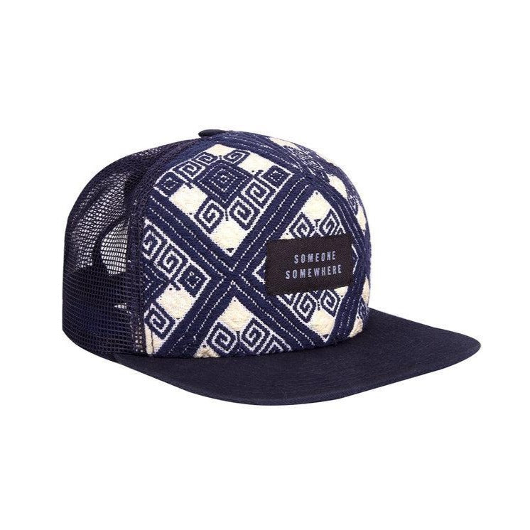 blue someone somewhere snapback with logo on a white background