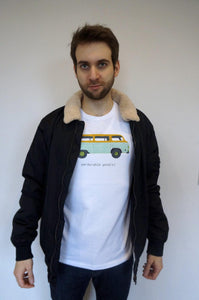 model wearing white camper van t-shirt