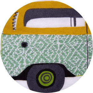Camper van and conbi closeup of handmade logo