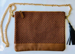 brown lighweight shoulder bag with handmade woven textile and gold chain