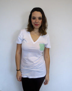 Women's light green someone somewhere pocket tee