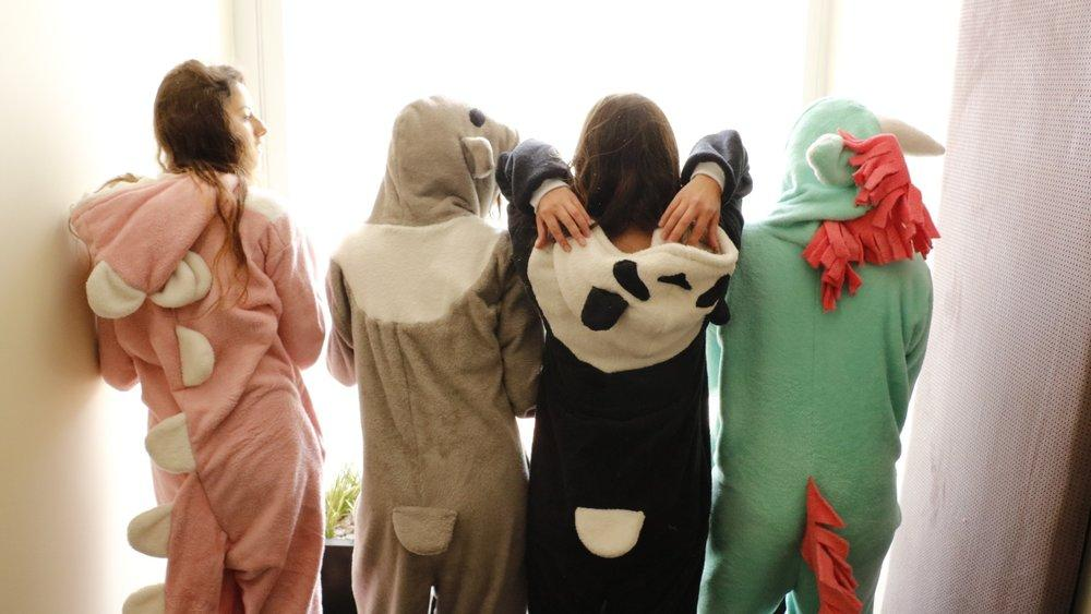 unicorn, dinosaur, panda and koala onesies with tails and hoods