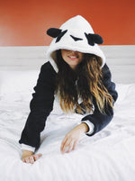 Load image into Gallery viewer, black and white panda onesie on bed