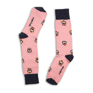 Pink and black doll socks