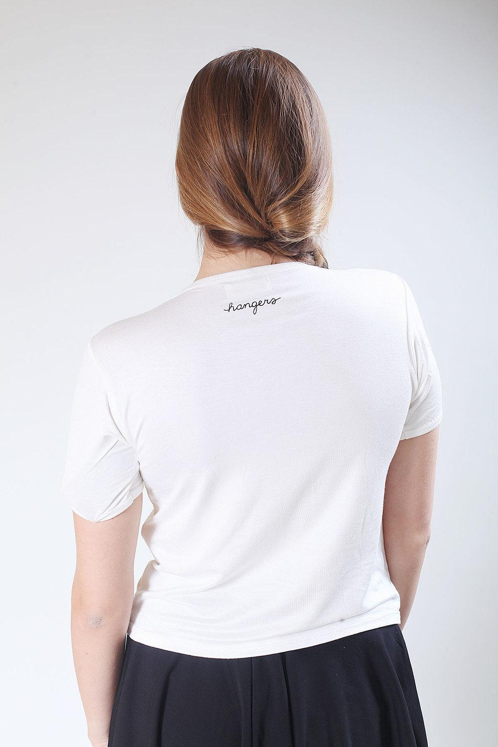 back of white t-shirt with brand logo