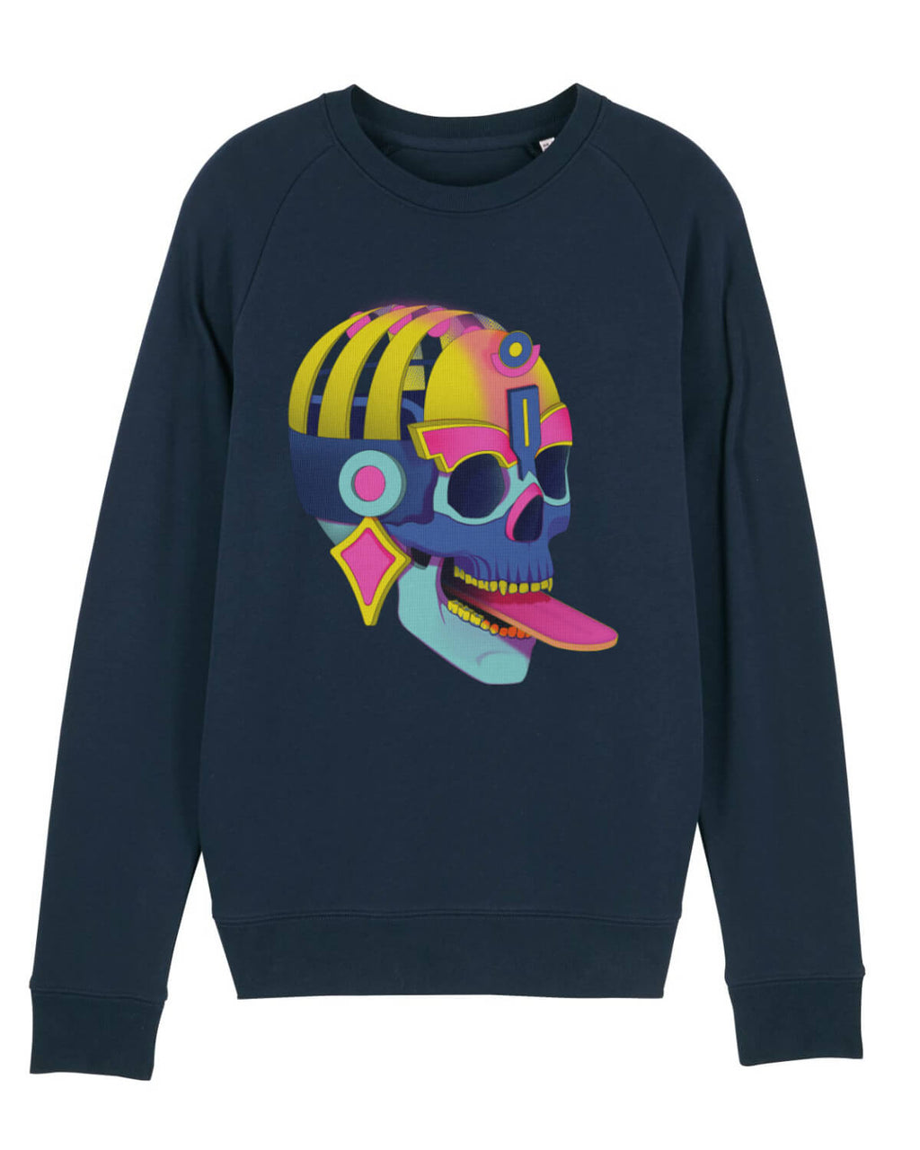 mens navy cotton midweight sweatshirt with large modern skull print