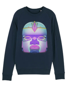 navy mens sweatshirt with head print aztec style on the front