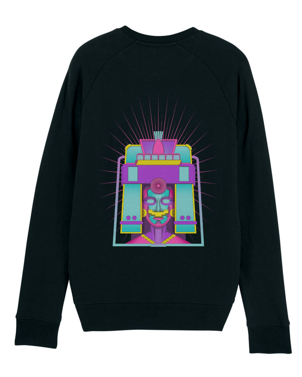 black mens sweatshirt with blue and purple aztec style print
