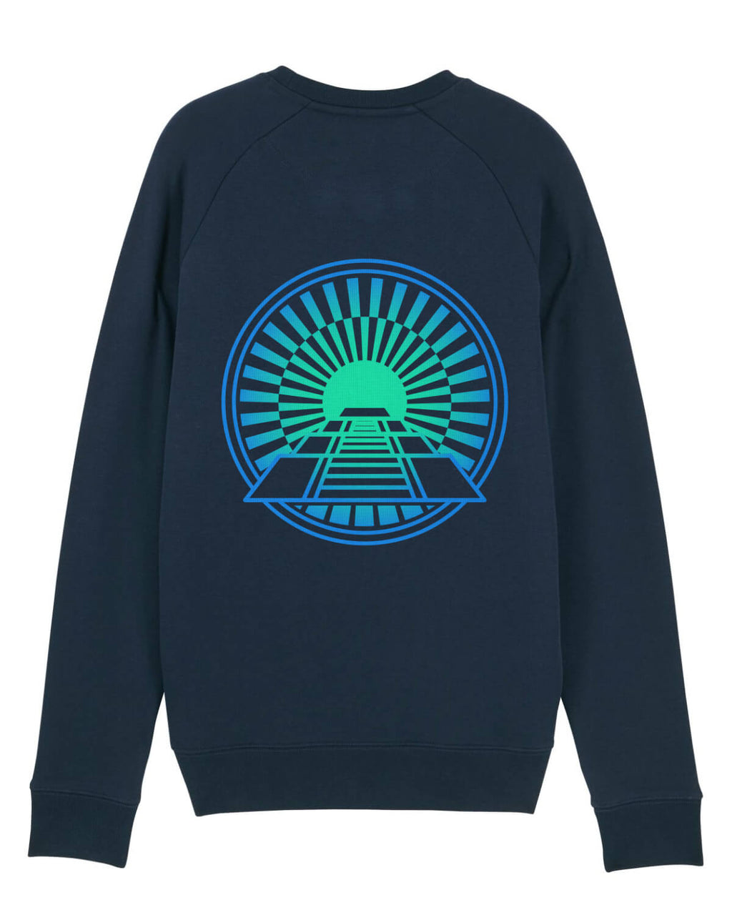 blue sweatshirt with green and blue pyramid print on the back