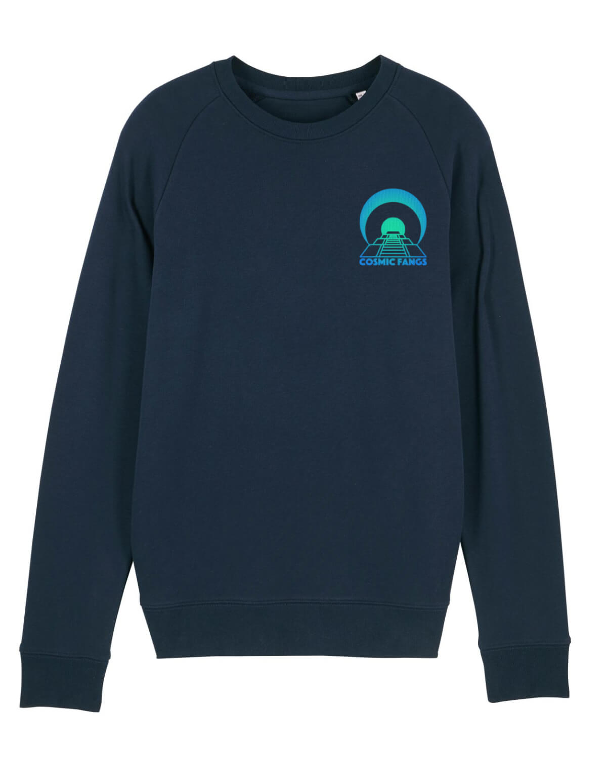 blue sweatshirt with green pyramid logo on the front