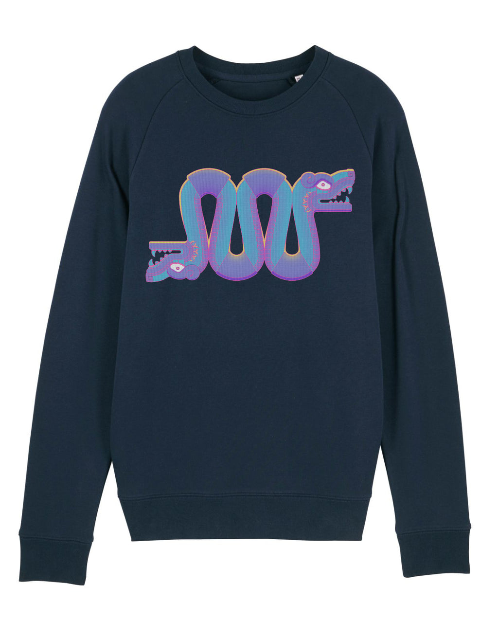 mens midweight sweatshirt with large blue and purple snake print
