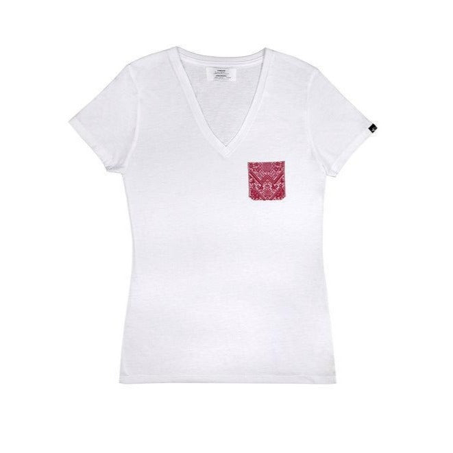 women's red artisan pocket tee