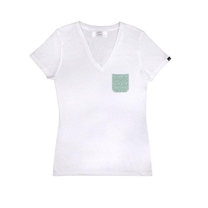Women's green someone somewhere pocket tee