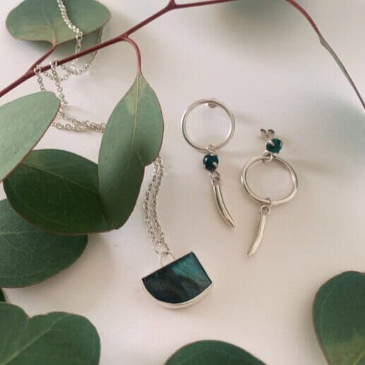 Eucalyptus leaves with green stone necklace and Malachite earrings
