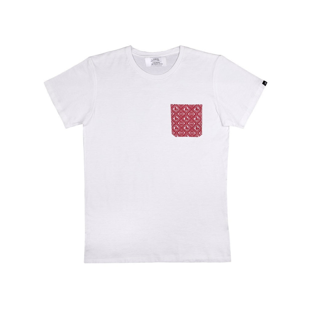 white t-shirt with red patterned pocket