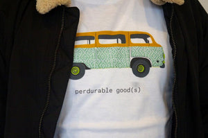 Closeup of campervan t-shirt logo with white t-shirt