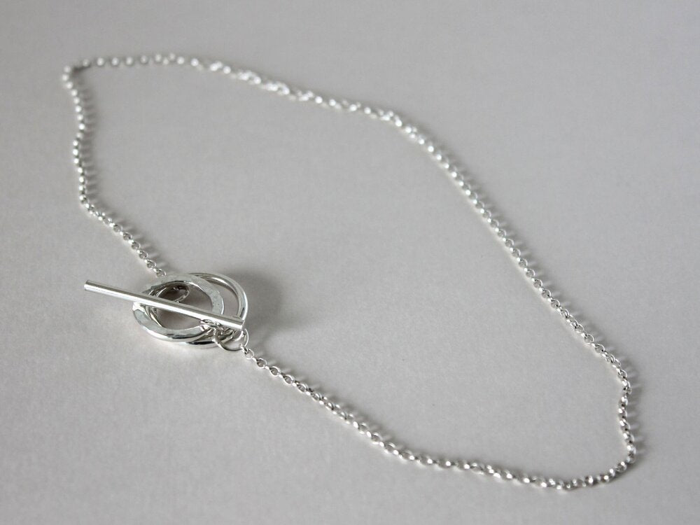 silver double layer necklace with silver chain
