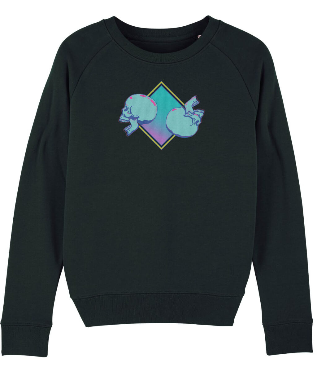 black sweatshirt with skulls print in blue and purple