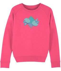 pink womens sweatshirt with blue double skull mexican print on front