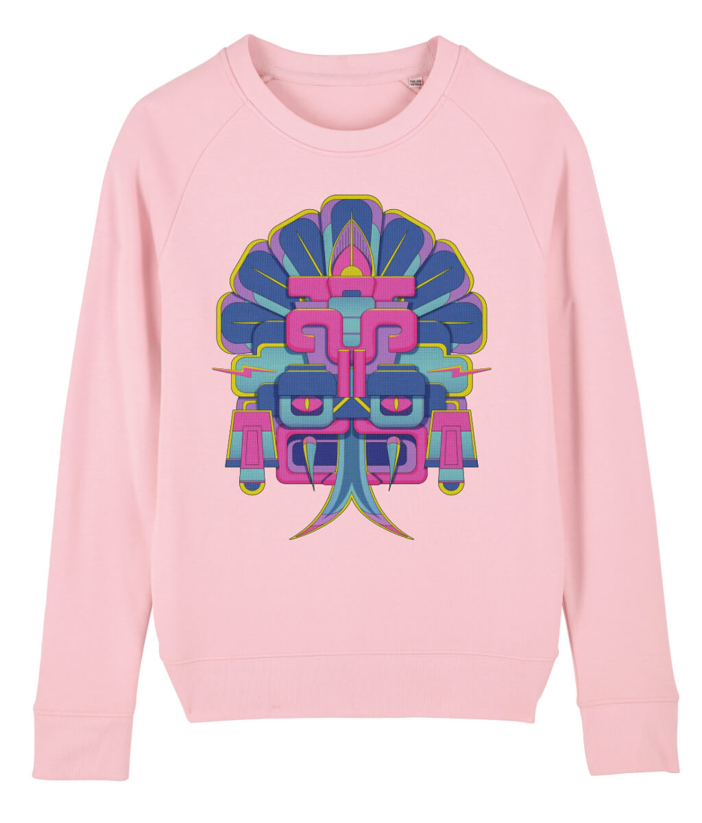 pink womens sweatshirt with mexican aztec large print