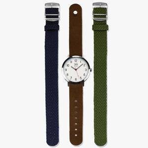 Mens simple watch with cloth and leather straps